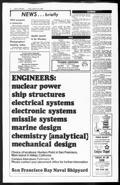 Daily Trojan, Vol. 60, No. 71, February 14, 1969