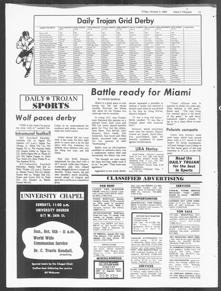 Daily Trojan, Vol. 60, No. 14, October 04, 1968