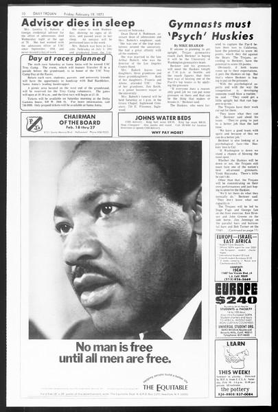 Daily Trojan, Vol. 62, No. 72, February 19, 1971
