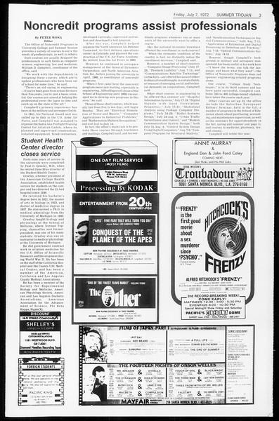 Summer Trojan, Vol. 65, No. 8, July 07, 1972