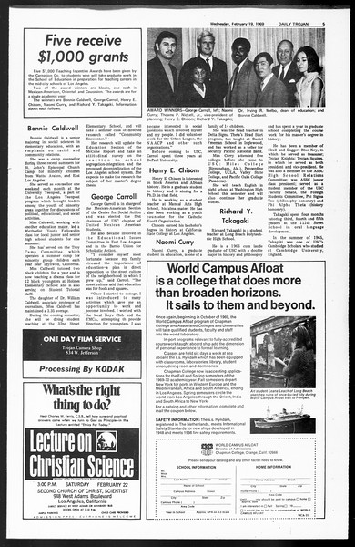 Daily Trojan, Vol. 60, No. 73, February 19, 1969