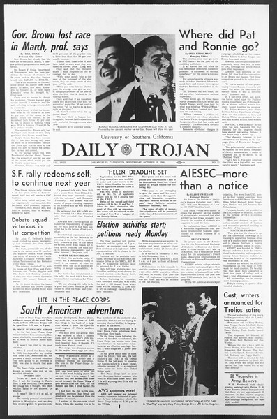 Daily Trojan, Vol. 58, No. 22, October 19, 1966