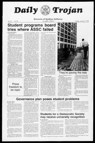 Daily Trojan, Vol. 65, No. 62, January 09, 1973