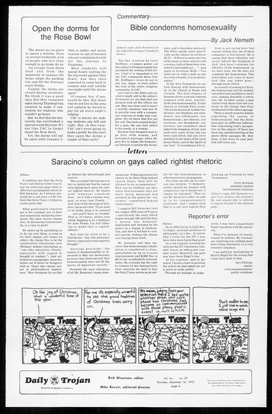 Daily Trojan, Vol. 65, No. 57, December 14, 1972