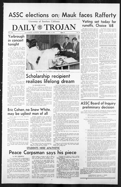 Daily Trojan, Vol. 59, No. 111, April 24, 1968
