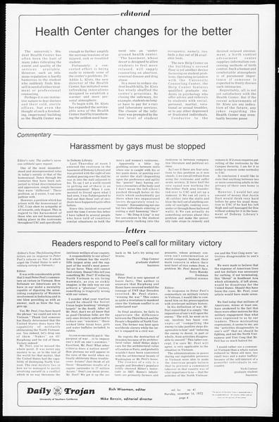 Daily Trojan, Vol. 65, No. 41, November 16, 1972