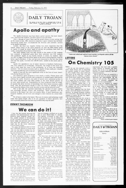 Daily Trojan, Vol. 62, No. 68, February 12, 1971
