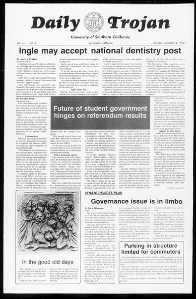 Daily Trojan, Vol. 65, No. 31, November 02, 1972