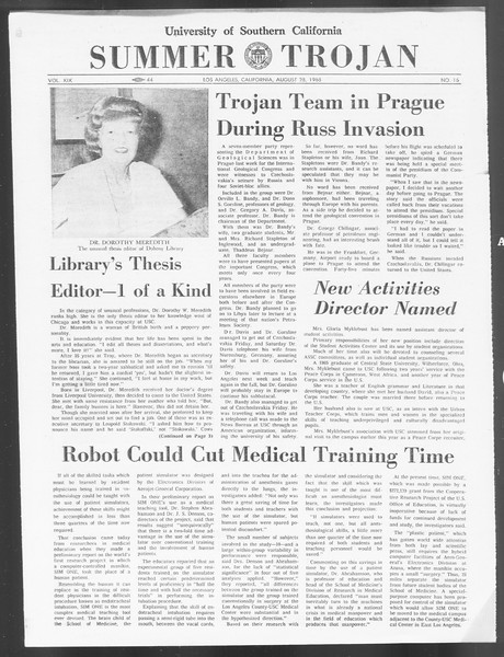 Summer Trojan, Vol. 19, No. 16, August 28, 1968