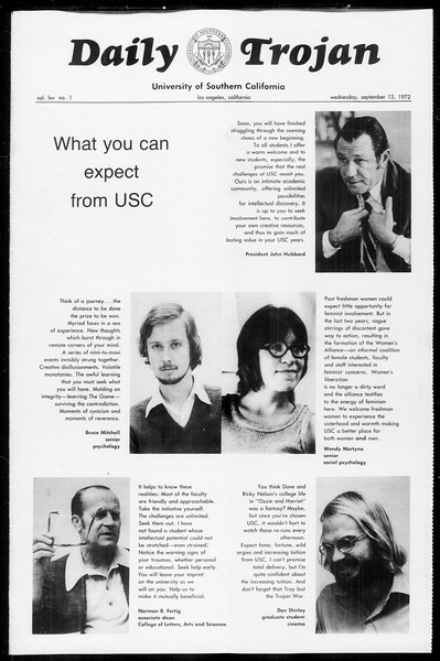 Daily Trojan, Vol. 65, No. 1, September 13, 1972