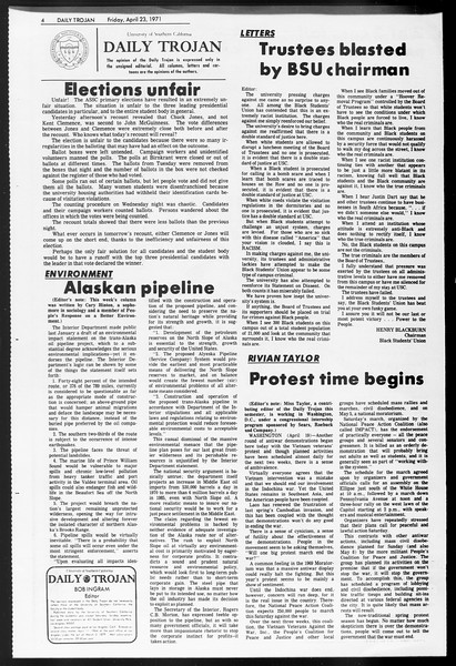 Daily Trojan, Vol. 62, No. 109, April 23, 1971