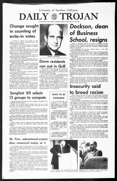 Daily Trojan, Vol. 60, No. 100, April 08, 1969