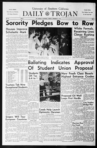Daily Trojan, Vol. 55, No. 2, September 24, 1963