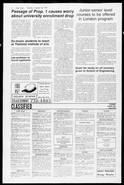 Daily Trojan, Vol. 65, No. 47, November 30, 1972