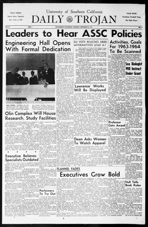 Daily Trojan, Vol. 55, No. 4, September 26, 1963
