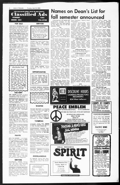 Daily Trojan, Vol. 60, No. 100, April 08, 1969