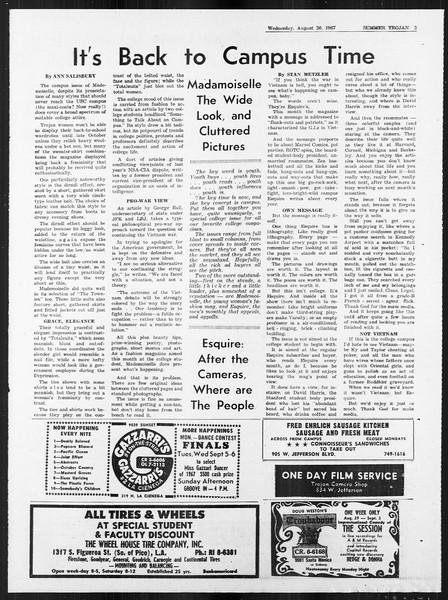 Summer Trojan, Vol. 18, No. 15, August 30, 1967