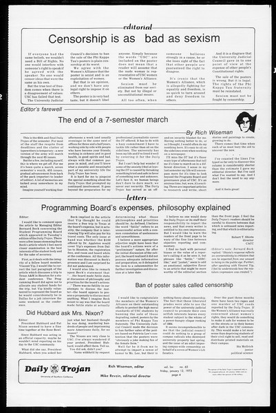 Daily Trojan, Vol. 65, No. 65, January 12, 1973