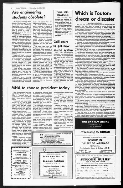 Daily Trojan, Vol. 60, No. 104, April 16, 1969