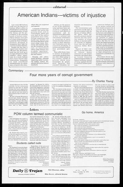 Daily Trojan, Vol. 65, No. 37, November 10, 1972