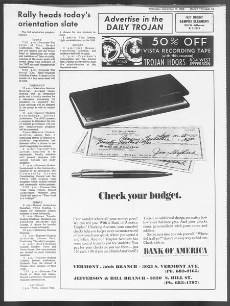 Daily Trojan, Vol. 60, No. 1, September 11, 1968