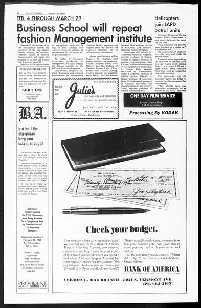 Daily Trojan, Vol. 60, No. 62, January 30, 1969