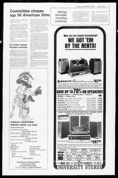 Daily Trojan, Vol. 65, No. 45, November 28, 1972