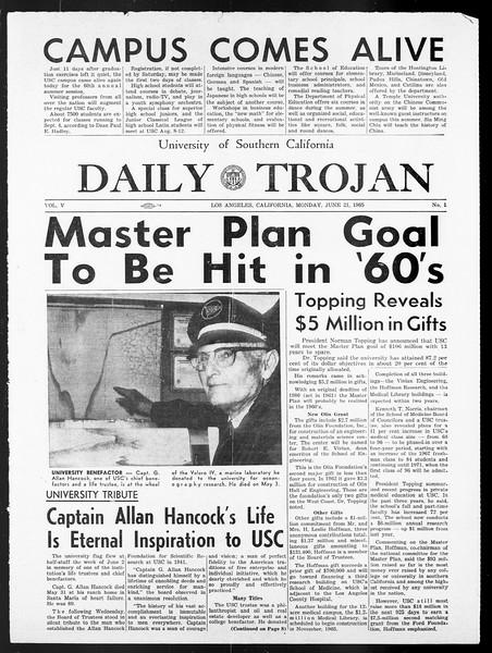 Summer Trojan, Vol. 15, No. 1, June 21, 1965