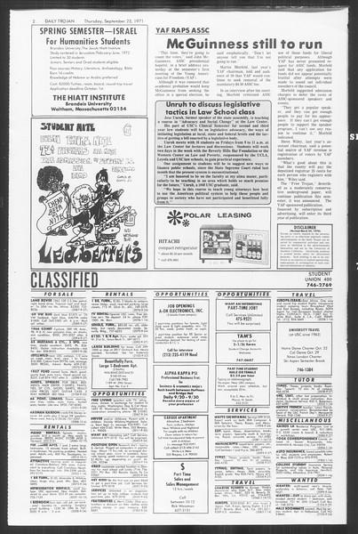 Daily Trojan, Vol. 64, No. 4, September 23, 1971