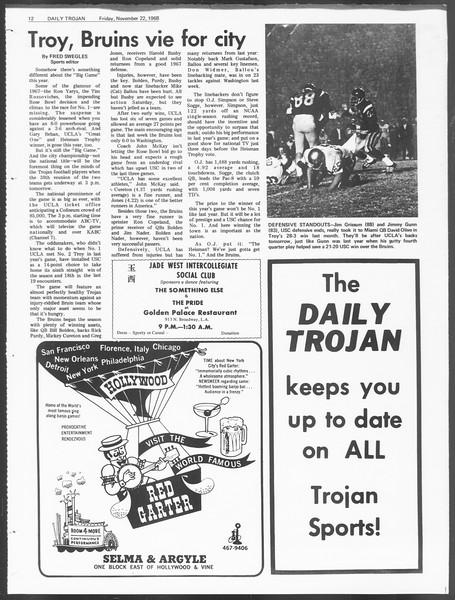 Daily Trojan, Vol. 60, No. 45, November 22, 1968