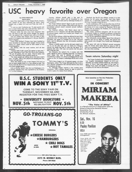 Daily Trojan, Vol. 60, No. 31, November 01, 1968