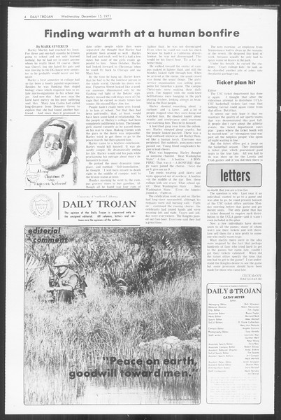 Daily Trojan, Vol. 64, No. 55, December 15, 1971