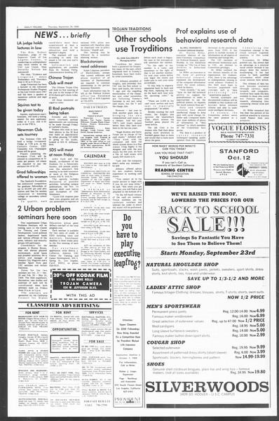 Daily Trojan, Vol. 60, No. 9, September 26, 1968