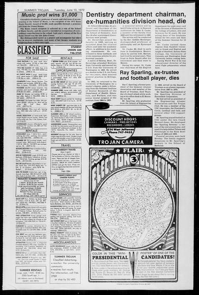 Summer Trojan, Vol. 65, No. 1, June 13, 1972