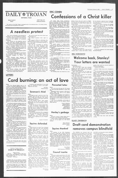 Daily Trojan, Vol. 60, No. 16, October 09, 1968