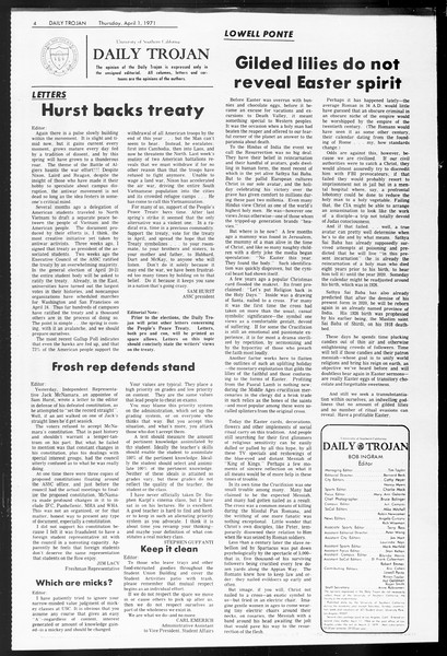 Daily Trojan, Vol. 62, No. 101, April 01, 1971