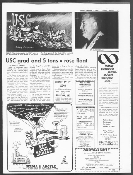 Daily Trojan, Vol. 60, No. 57, December 17, 1968