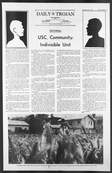 Daily Trojan, Vol. 58, No. 116, May 03, 1967