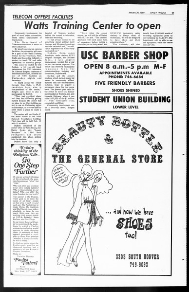 Daily Trojan, Vol. 60, No. 62, January 30, 1969