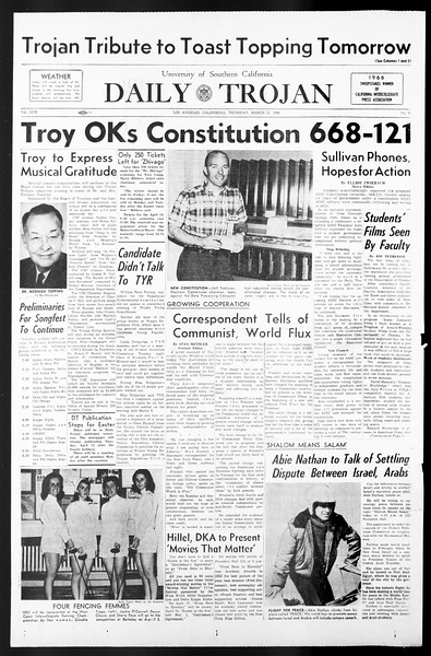 Daily Trojan, Vol. 57, No. 98, March 31, 1966