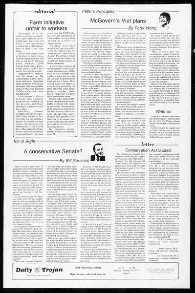 Daily Trojan, Vol. 65, No. 22, October 19, 1972