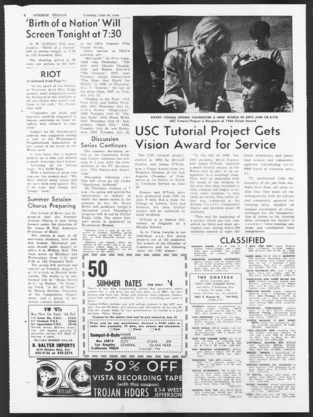 Summer Trojan, Vol. 17, No. 3, June 28, 1966