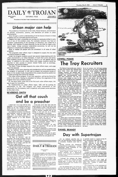 Daily Trojan, Vol. 60, No. 119, May 08, 1969