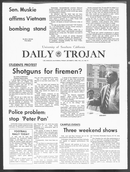 Daily Trojan, Vol. 60, No. 14, October 04, 1968