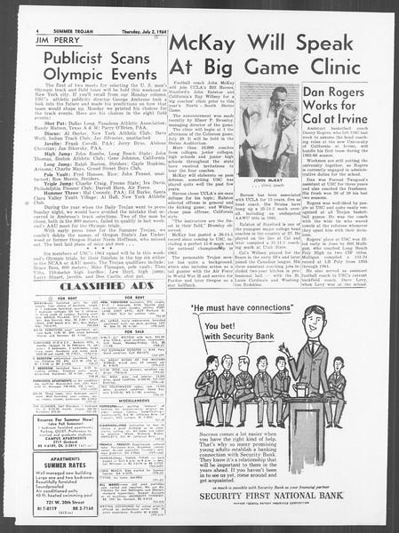 Summer Trojan, Vol. 14, No. 4, July 02, 1964