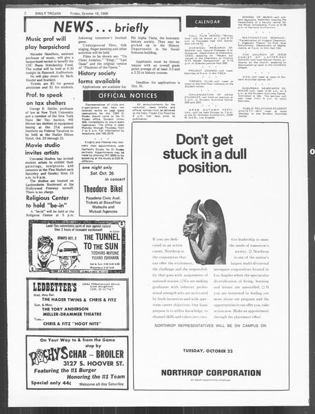 Daily Trojan, Vol. 60, No. 22, October 18, 1968
