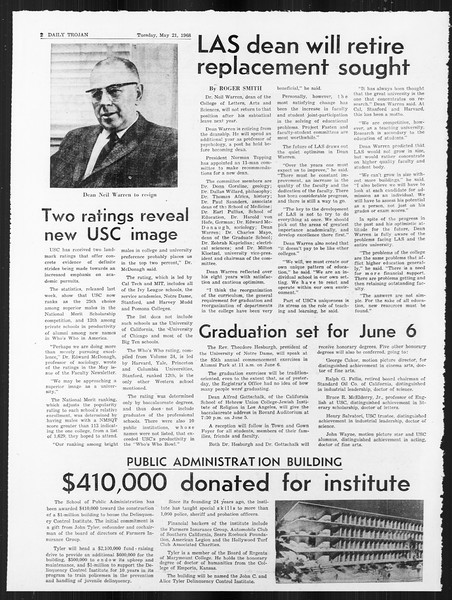 Daily Trojan, Vol. 59, No. 124, May 21, 1968