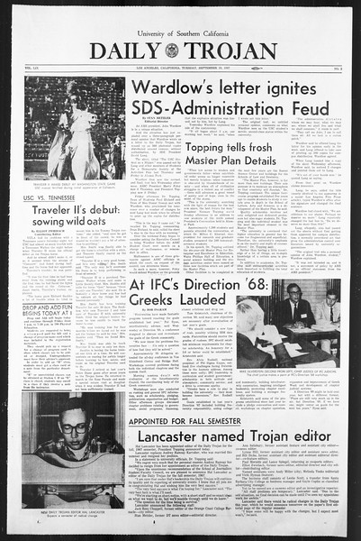 Daily Trojan, Vol. 59, No. 2, September 19, 1967