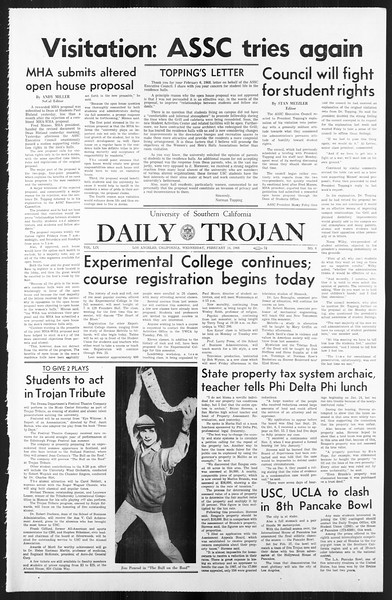 Daily Trojan, Vol. 59, No. 70, February 14, 1968