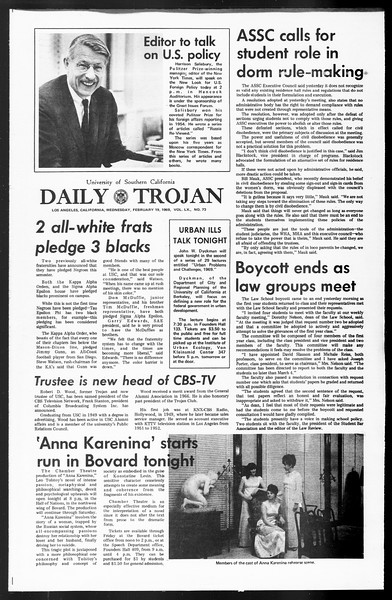 Daily Trojan, Vol. 60, No. 73, February 19, 1969